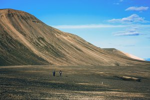 Hiking in Landmannalaugar, mountain landscape in Iceland