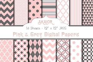 Baby Pink Grey Digital Papers