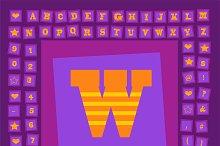 Pop art creative fonts purple orange