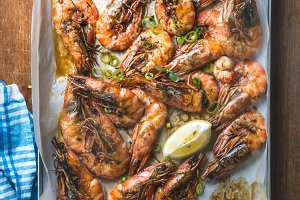 Roasted tiger prawns