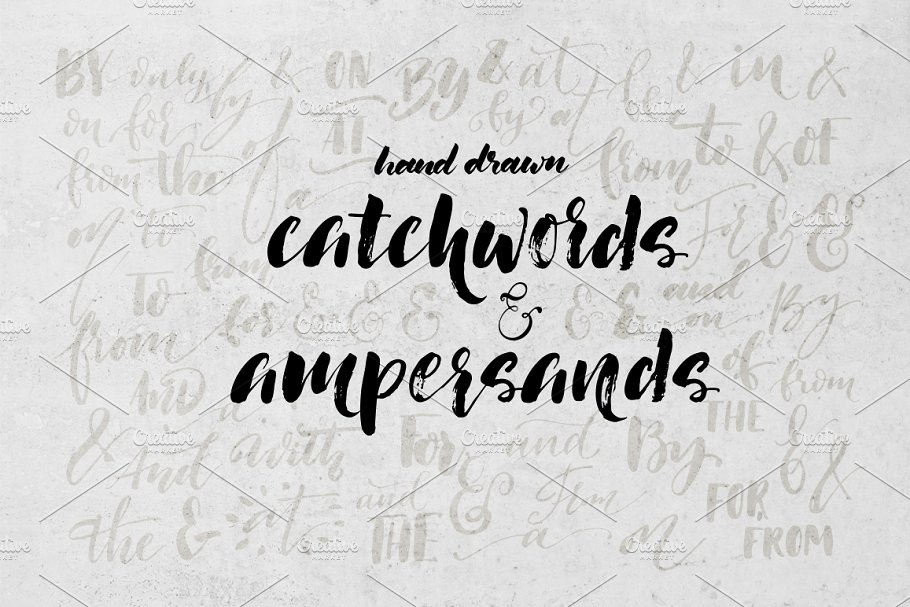 Set of ampersands and catchwords.