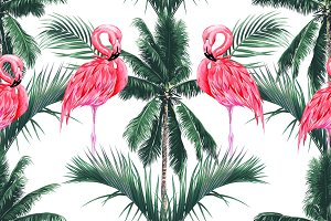Pink flamingos,palm trees pattern