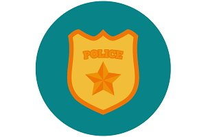 Police badge flat icon