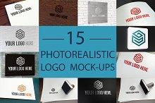 15 Photorealistic Logo Mock-Ups Set