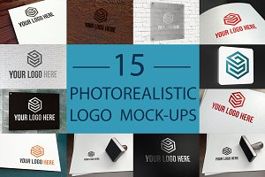 15 Photorealistic Logo Mock-Ups Set