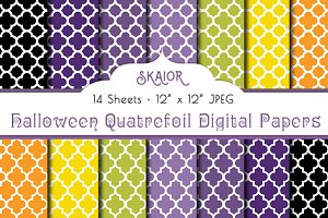 Halloween Quatrefoil Digital Papers