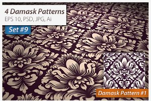 4 Seamless Damask Patterns Set#9