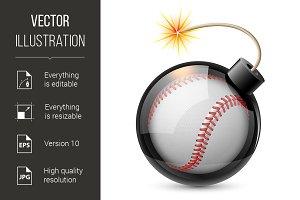 Abstract baseball shaped like a bomb