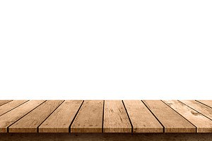 empty wooden table top isolated