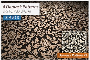 4 Seamless Damask Patterns Set#10