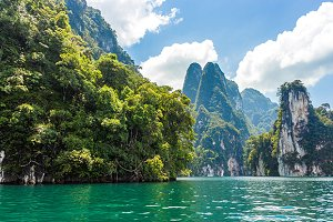 mountains lake river sky and natural
