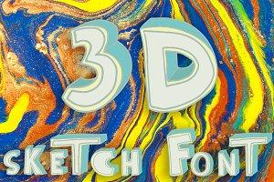 3D style sketch font