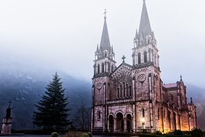 Covadonga sanctuary with fog