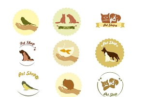 Pet shop logo, label and badges, vet