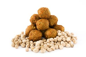 Vegetarian falafels and chickpeas