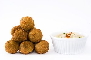 Vegetarian falafels and hummus