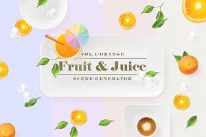 Orange fruit & juice scene generator