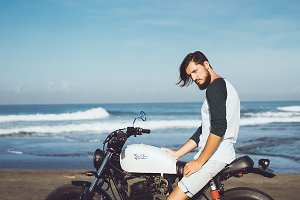 handsome with vintage motorcycle