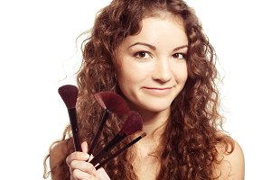 Woman with make up brush