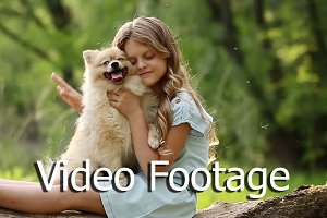 Little girl stroking dog
