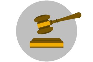 Judge gavel flat icon