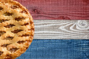 Apple Pie on Patriotic Background