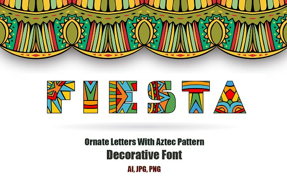 Fiesta ABC Letters Vector Font in Objects