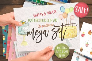 Watercolor Cake Clipart, Patterns