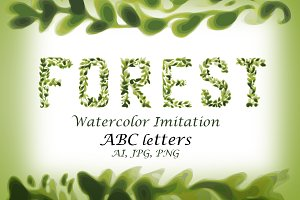 Foliage Watercolor Vector Font