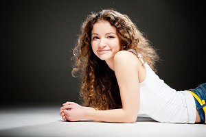 young pretty woman in studio
