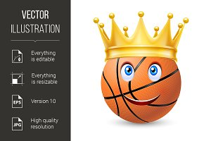 Gold crown on a basketball bal