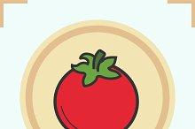 Tomato color icon. Vector