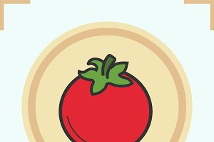 Tomato color icon. Vector