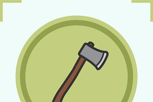 Axe color icon. Vector