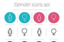 Gender. 12 icons set. Vector