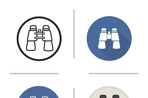 Binoculars. 4 icons. Vector