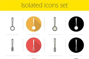 Kitchen tools. 12 icons. Vector