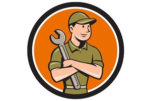Mechanic Arms Crossed Spanner Circle