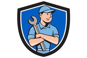 Mechanic Arms Crossed Spanner Crest