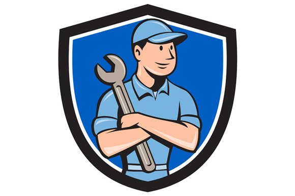 mechanic arms crossed spanner crest illustrations on creative market