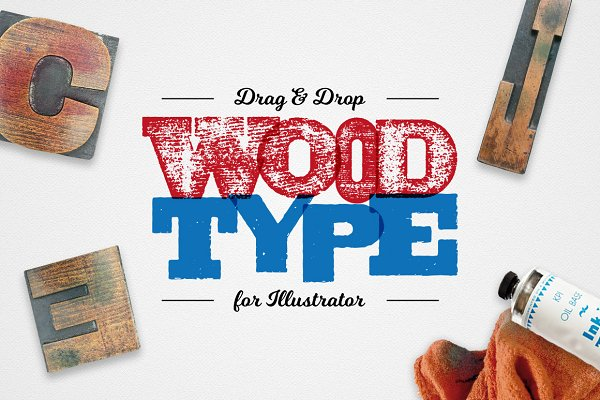 Photoshop Shapes: Ian Barnard - Drag & Drop WoodType for Illustrator