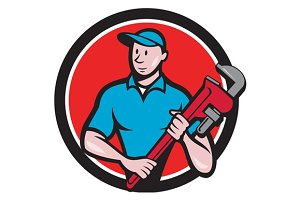 Plumber Holding Monkey Wrench