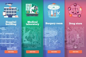 Flat Medical and Healthcare Banners