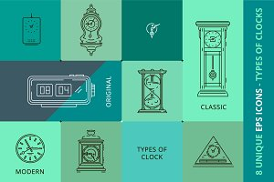 8 VECTOR EPS ILLUSTRATIONS OF CLOCKS