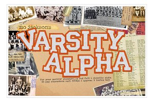 vintage orange varsity alphabet