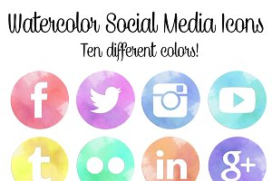 Watercolor Social Media Icons Set