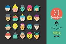 20 faces. Flat gesign.