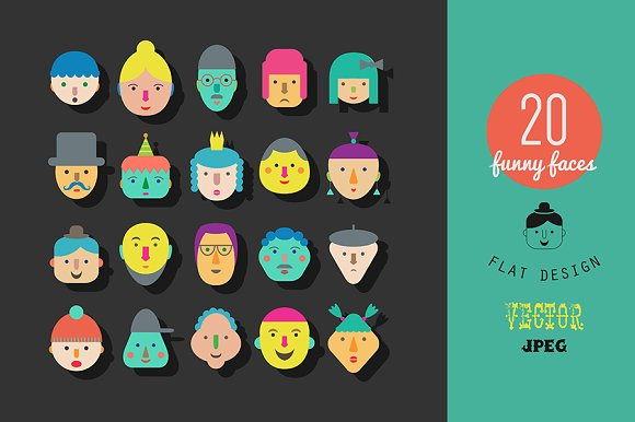 20 faces. Flat gesign. - Icons