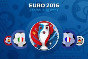 EURO 2016 - Football Flag Icons