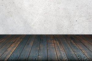 concrete wall wooden floor
